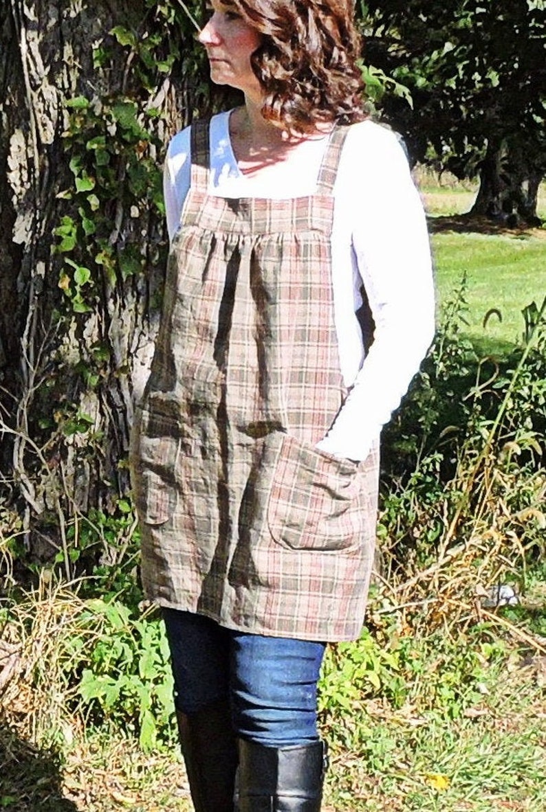Tan & Jade Woven Plaid Washed Linen Pinafore Apron with no image 0