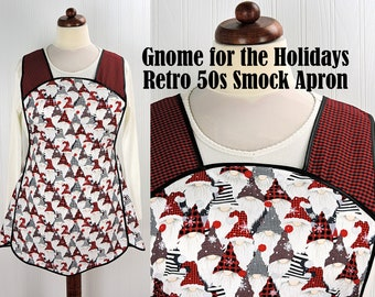Gnome for the Holidays Retro 50s Christmas Smock, relaxed fit H-back apron, 4 sizes made to order with pocket options (XS - Plus sizes)