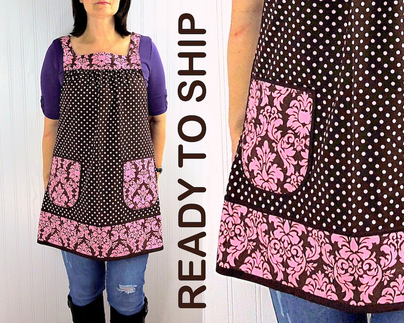 Cocoa Dots & Damask Pinafore with no ties relaxed fit smock image 0