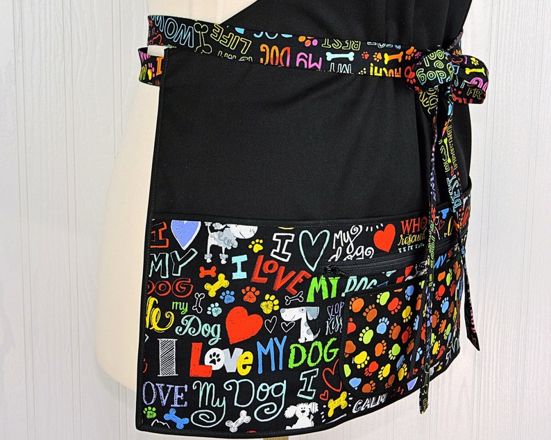Full Length DOG LOVER Multi-Pocket Apron includes zipper image 0