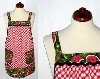 Watermelon Picnic Pinafore Apron with no ties, relaxed fit smock with pockets, retro farmhouse kitchen apron made to order XS -Plus sizes