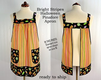 Bright Stripes Halloween Pinafore Apron with no ties, relaxed fit smock with pockets, Trick or Treat apron ready to ship ASAP
