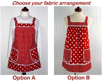 Red Polka Dot Pinafore with no ties, relaxed fit smock apron with pockets, comfortable (doesn't touch neck) made to order XS - Plus Sizes