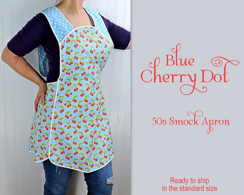 Blue Cherry Dot Retro 50s Smock Apron relaxed fit H-back image 0