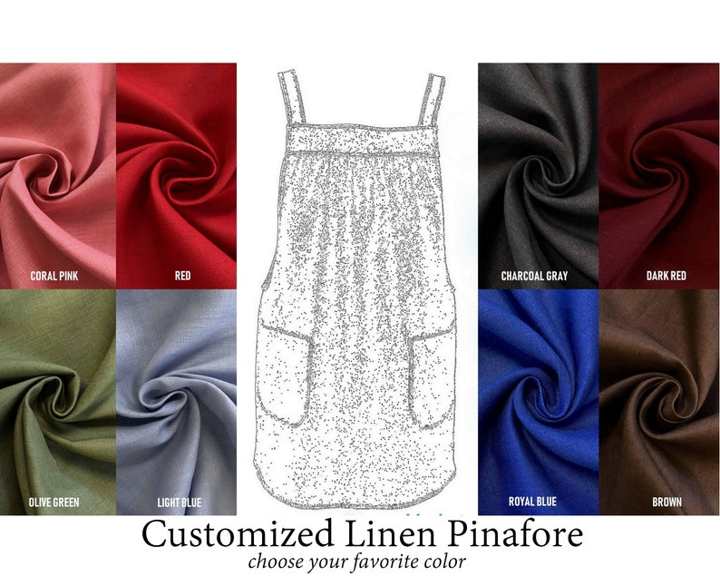 Customized Linen Pinafore Apron with no ties choose your image 0