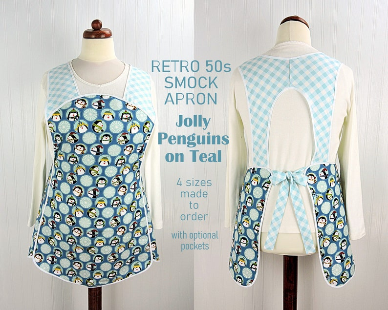 Retro 50s Christmas Smock Jolly Penguins on Teal relaxed fit image 0