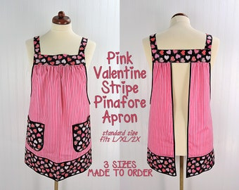 Pink Valentine Stripe Pinafore Apron with no ties, relaxed fit smock apron with pockets, hearts & stripes, LAST ONE made to order (3 sizes)