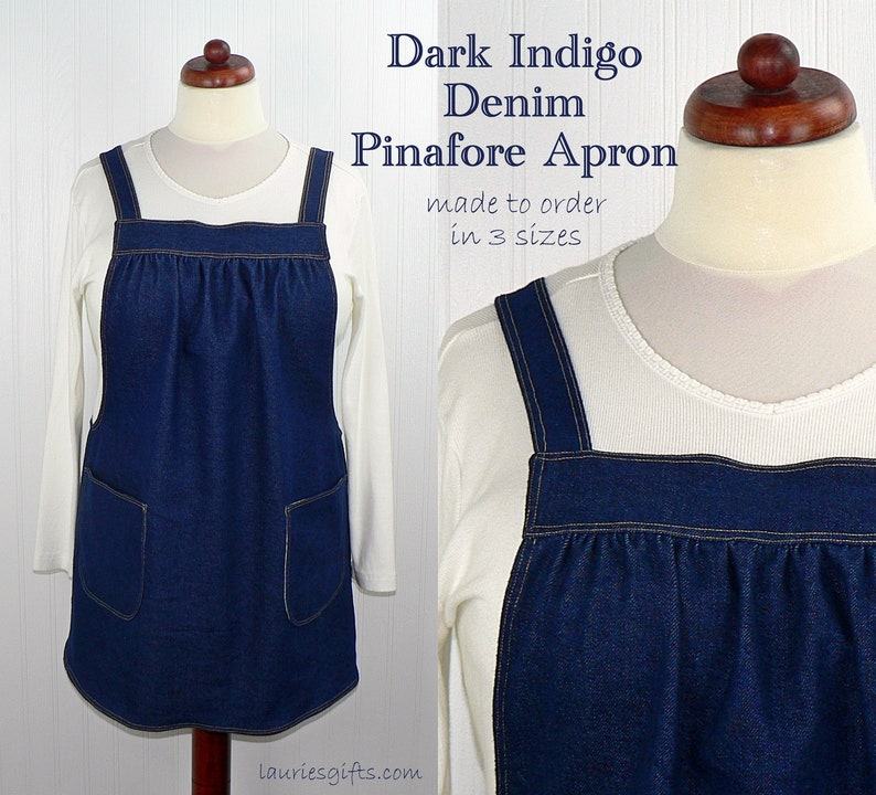 Dark Indigo Denim Pinafore with no ties relaxed fit blue jean image 0