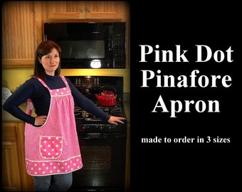Retro Hostess Pink Polka Dot Pinafore with no ties, relaxed fit smock with pockets, farmhouse apron, made-to-order XS - Plus Sizes