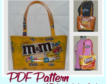 Large Snack Wrapper Purse instruction guide (PDF download) DIY tutorial to make novelty purses using recycled wrappers