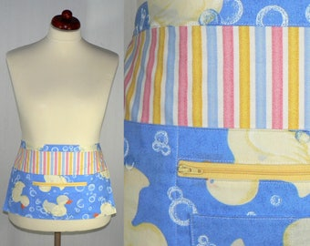 Rubber Ducky Multi-Pocket Half Apron, Great for new moms, teachers, soap makers, craft shows, farmers markets, made-to-order in 2 sizes