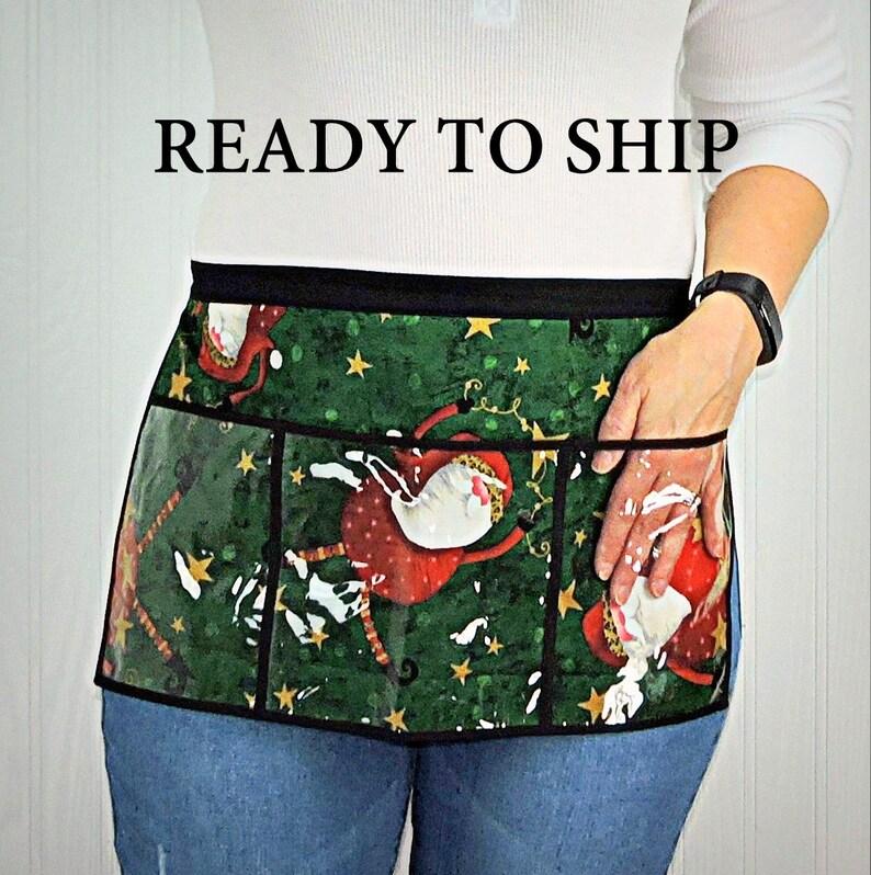 Tumbling Santa 3 Pocket Teacher Apron Christmas Vendor Apron image 0