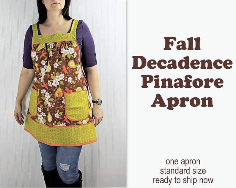 Fall Decadence Pinafore Apron with no ties relaxed fit smock image 0