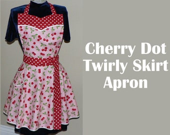Pink Cherry Dot Twirly Skirt Apron (sweetheart neckline) flirty pin up apron, hostess apron, diner apron with pocket, one size made to order
