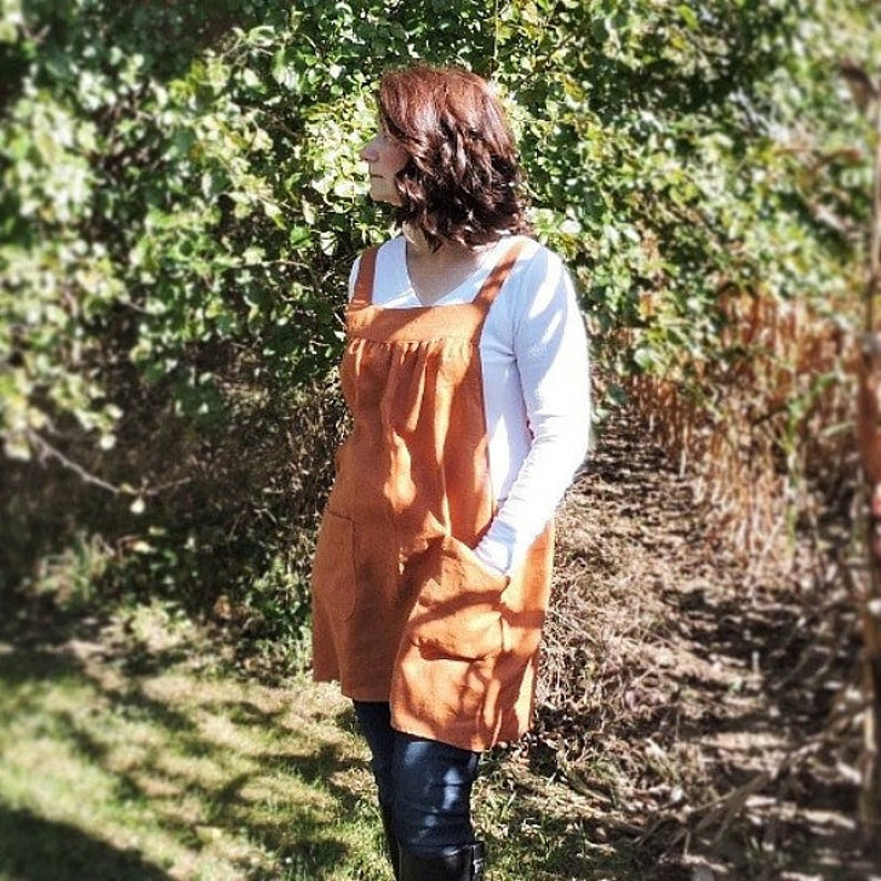Burnt Orange Washed Linen Pinafore Apron with no ties 100% image 0