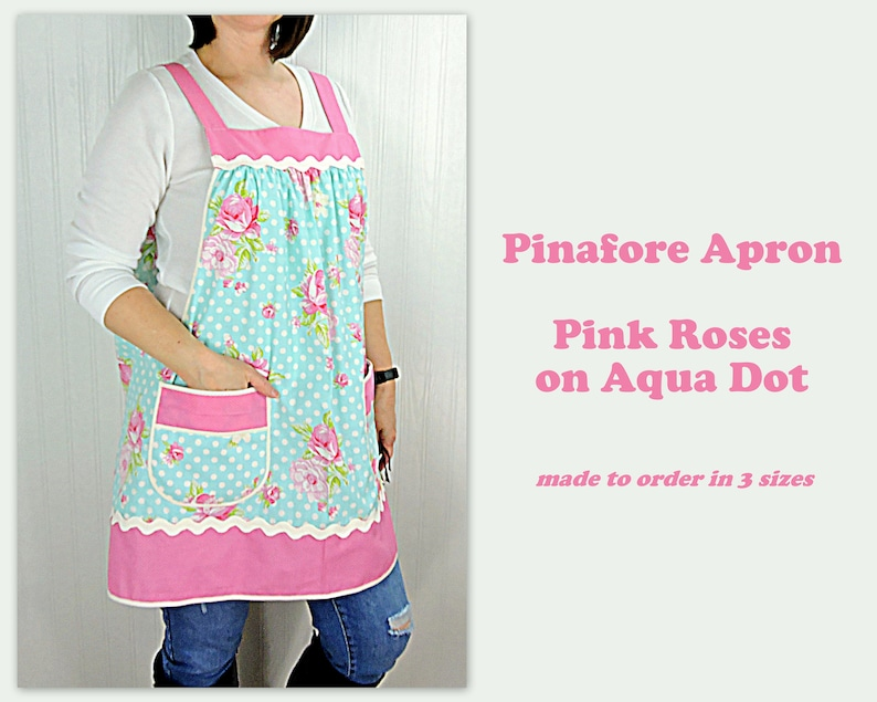 Pink Roses on Aqua Dot Pinafore Apron with no ties relaxed image 0