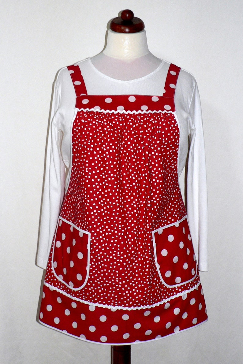 Red Polka Dot Pinafore with no ties relaxed fit smock apron image 0
