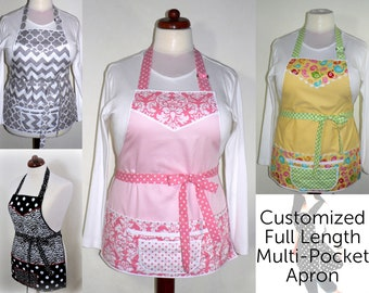 FULL LENGTH Multi-Pocket Apron for Teachers, Event Planners, Servers includes zipper money pocket, shopkeeper apron, choose your fabric