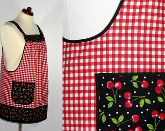 Red Gingham and Cherries Pinafore Apron with no ties, relaxed fit smock with pockets, retro kitchen apron, made to order XS to Plus Size