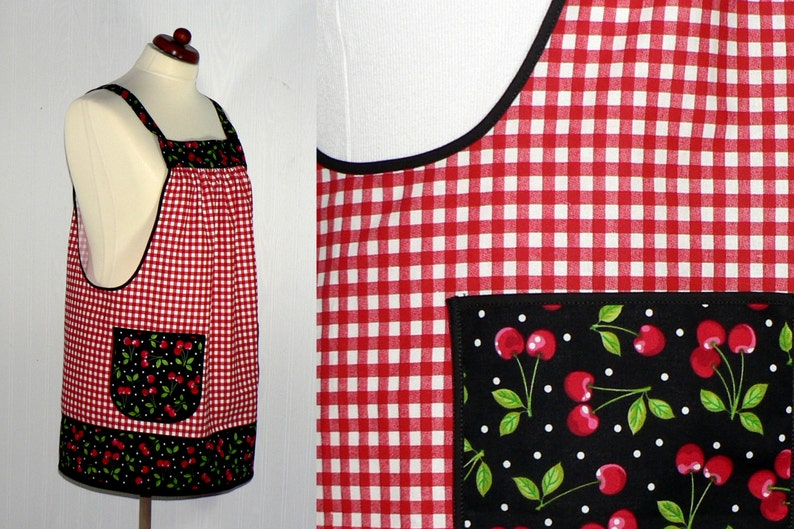 Red Gingham & Cherries Pinafore Apron with no ties relaxed image 0