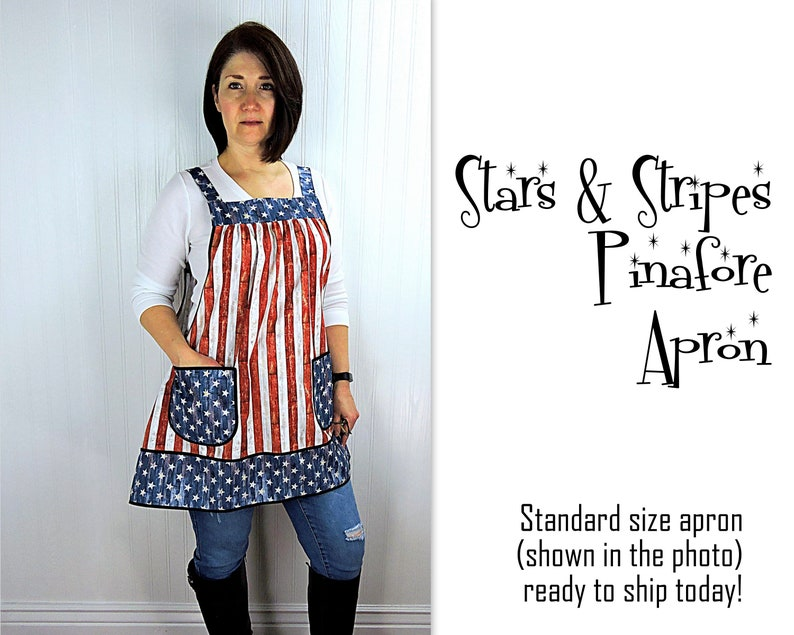 Stars & Stripes Pinafore Apron with no ties relaxed fit smock image 0