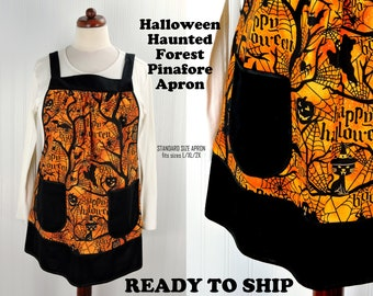 Halloween Haunted Forest Pinafore Apron with no ties, relaxed fit smock with pockets, black and orange Halloween apron, OOAK Ready to Ship