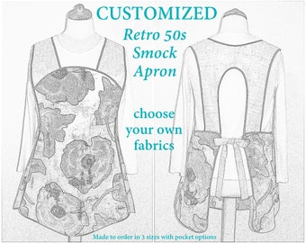 Custom 50s Smock Apron (choose your own fabrics) relaxed fit smock w/ pocket options, H-back style sits on shoulders (no neck ties) XS-Plus