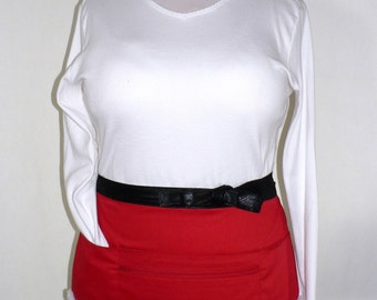 Santa-suit 8 pocket apron with secure zip pocket, Christmas Teacher/ Vendor/ Waitress/ Photographer/ Event Hostess Apron handmade in 2 sizes