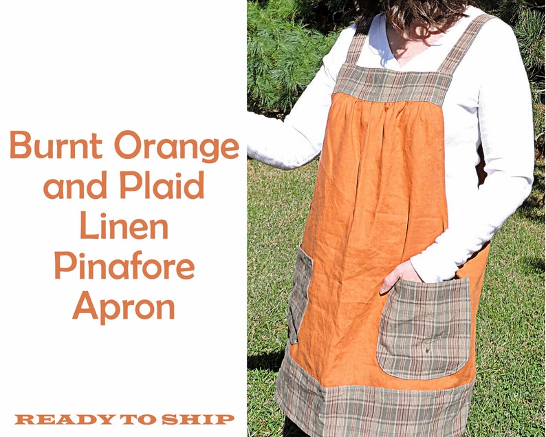 Burnt Orange & Plaid Washed Linen Pinafore Apron with no ties image 0