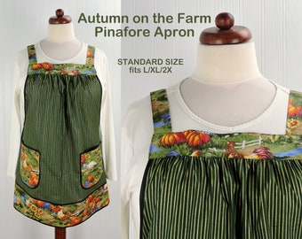 Autumn on the Farm Pinafore with no ties, relaxed fit smock with pockets, chicken- pumpkins- sunflower Farmhouse Apron, OOAK ready to ship