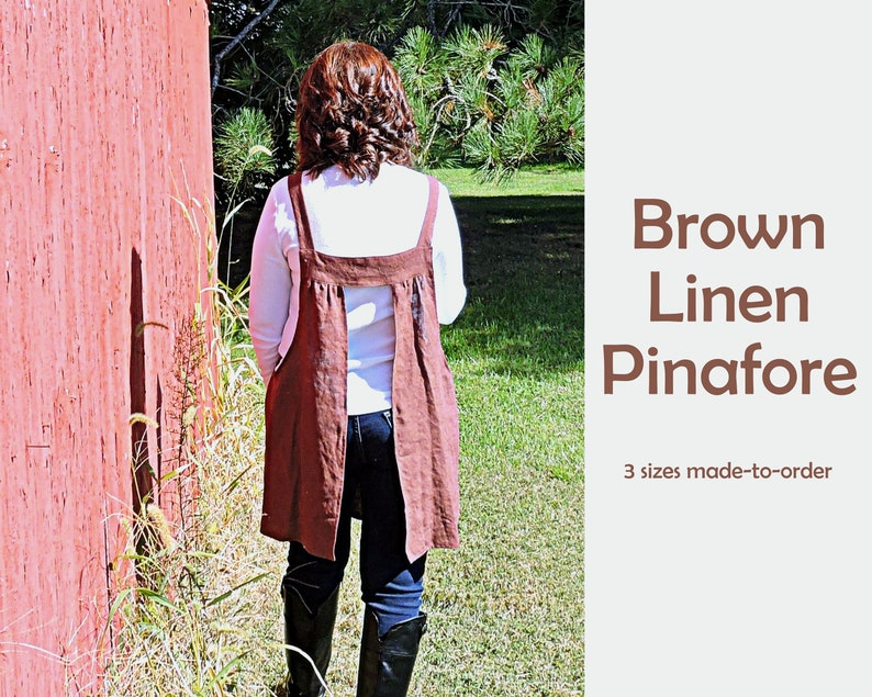 Brown Washed Linen Pinafore Apron with no ties 100% flax image 0