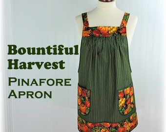 Bountiful Harvest Pinafore Apron with no ties, relaxed fit smock with pockets, fall pumpkins apron made to order XS thru Plus Sizes