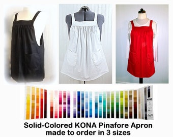 Pinafore Apron with no ties in solid colored KONA cotton, relaxed fit smock with pockets, made to order in any available color Kona Cotton