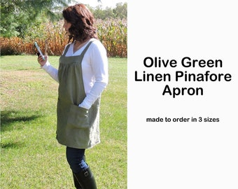 Olive Green Washed Linen Pinafore Apron with no ties, 100% flax linen relaxed fit smock with pockets, made to order XS - Plus Size
