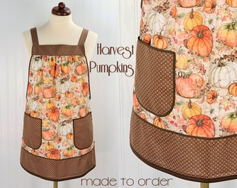 Harvest Pumpkins Pinafore Apron with no ties, relaxed fit smock with pockets, fall apron made to order XS thru 5X, Susan Winget Harvest
