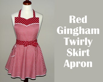 Retro 50s Red Gingham Twirly Skirt Apron with circle skirt and sweetheart neckline, flirty pin up apron with pocket, one size made to order