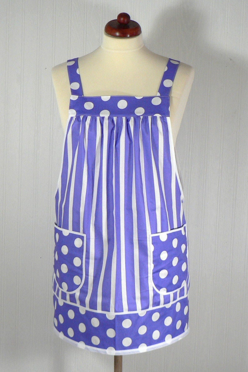 Purple Stripes & Dots Pinafore with no ties relaxed fit smock image 0