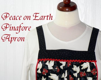 Peace on Earth Pinafore with no ties, relaxed fit smock with pockets, Christmas Doves on Black Apron- 3 sizes made to order XS - Plus Size