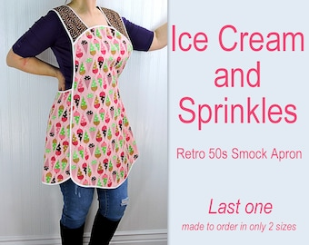 Ice Cream Cones and Sprinkles Retro 50s Smock Apron, relaxed fit H-back style doesn't touch neck, last one available, 2 size options