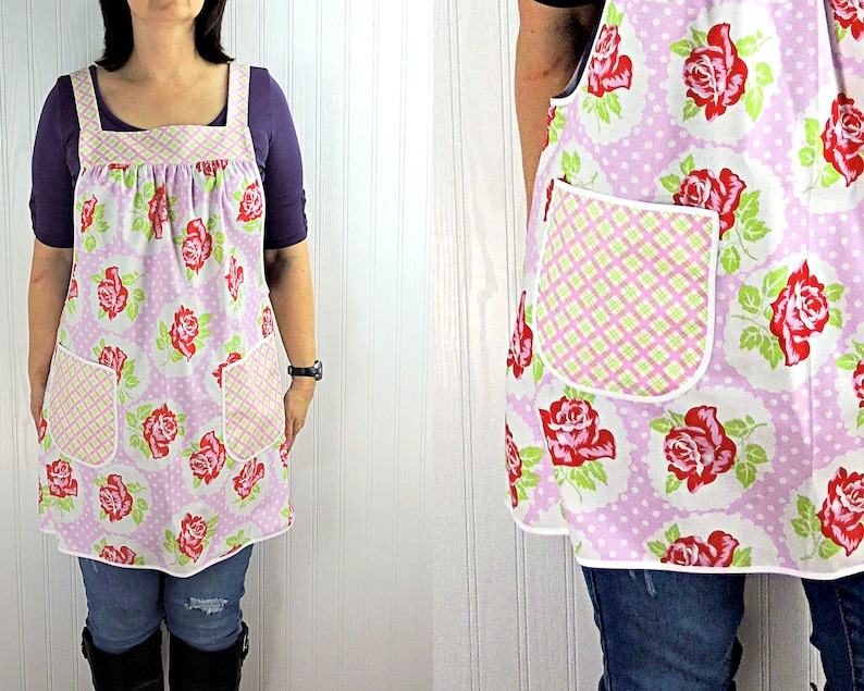 Lulu Roses on Pink Pinafore Apron with no ties relaxed fit image 0