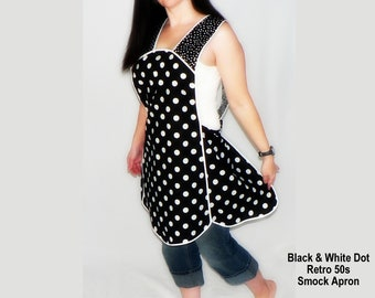 """Black and White Polka Dot Retro 50s Smock Apron, relaxed fit """"H-back"""" style doesn't touch neck, optional pockets, 4 sizes handmade to order"""