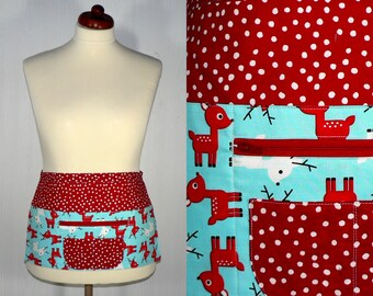 Christmas Vendor Apron with zipper pocket, Jingle Deer 6 pocket apron, Holiday Teacher, Waitress, Daycare Apron made to order in 2 sizes