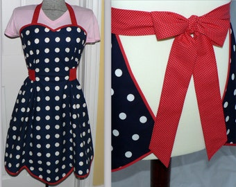 1940s Style Navy Polka Dot Apron with sweetheart neckline (red white and blue Americana) Fourth of July apron, handmade to order