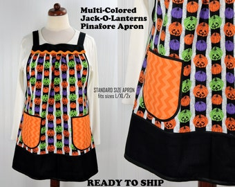 Multi-Colored Jack-O-Lanterns Pinafore Apron with no ties, relaxed fit smock with pockets, cute Halloween apron, OOAK Ready to Ship