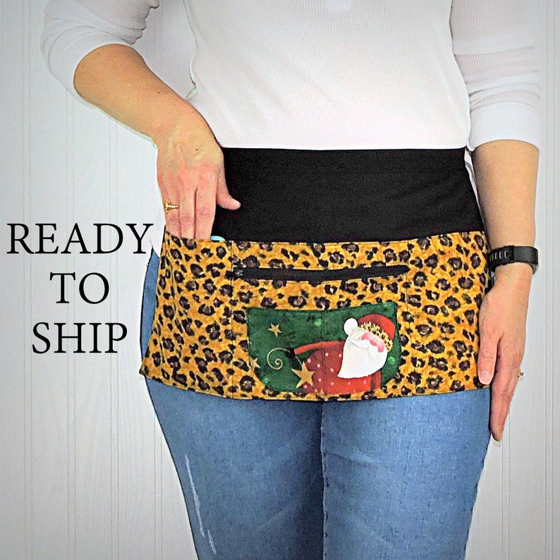 Leopard Print Santa Multi-Pocket Teacher Apron Christmas image 0