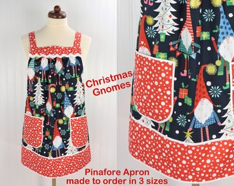 Christmas Gnomes Pinafore with no ties, relaxed fit smock with pockets, over the head apron made to order XS - Plus sizes