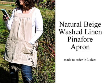 Natural Beige Washed Linen Pinafore Apron with no ties, 100% flax linen relaxed fit smock with pockets made to order XS - 5X Plus Size