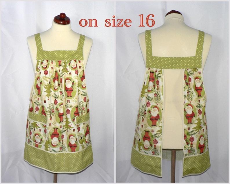 loose fitting smock apron with pockets Woodland Christmas Pinafore Apron with no ties non-traditional Santa and owls holiday baking apron