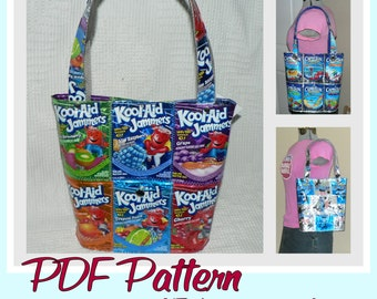 Juice Pouch Bucket Bag instruction guide (PDF download) DIY tutorial to make novelty purses using recycled wrappers