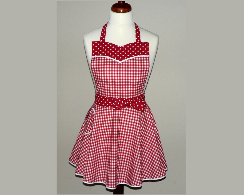 Retro 50s Red Gingham Twirly Skirt Apron with circle skirt & image 0